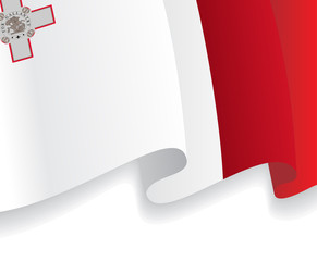 Background with waving Malta Flag. Vector
