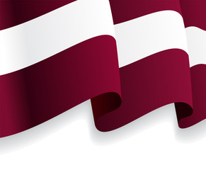 Background with waving Latvian Flag. Vector
