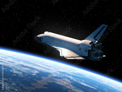 Poster Ruimtelijk Space Shuttle Orbiting Earth