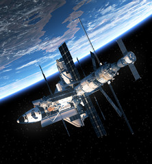 Space Shuttle And Space Station Orbiting Earth