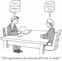 Agreement documents in order:  'This is a win-win squared.'