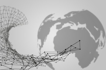 Globe and Network  Grey Backroung
