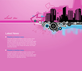 Pink background with city and place for your text.