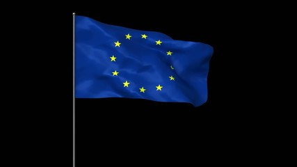 Waving european united flag with alpha matte