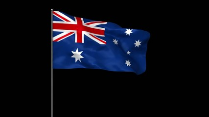 Waving australian flag with alpha matte