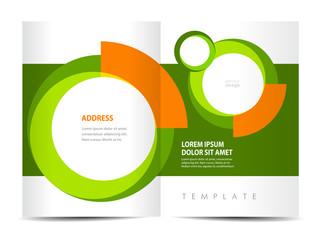 Brochure design template. Circle element, green background