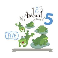 Children alphabet of animals and figures. Number five.