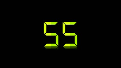 One minute countdown timer with digital numbers on black