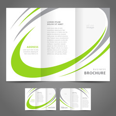 brochure design template folder leaflet green grey line element
