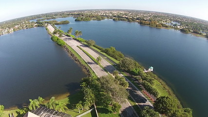Road crossing Florida lakes aerial view