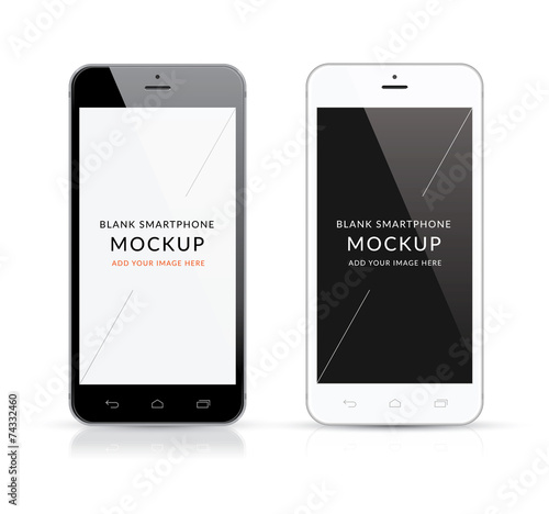 New black and white modern smartphone mockup vector illustration - 74332460