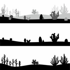 cactus landscape, horizontal vector banners