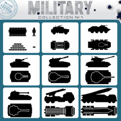 Various Military Vehicles. Vector Icons
