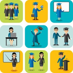 Flat learning concept for education with graduates, teachers