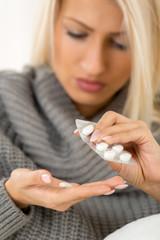 Sick Girl Takes Medicine