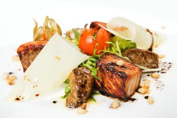 salad with salmon and seafood