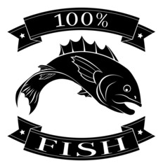 100 percent fish food label