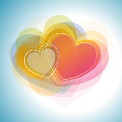 cœurs colorés en transparence