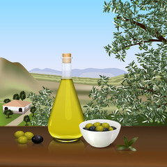 bottle of olive oil on the table