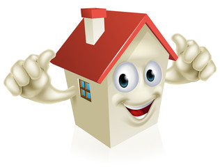 House cartoon thumbs up mascot