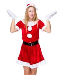 Christmas girl shrug her shoulder with feeling unsure