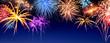 Leinwanddruck Bild - Feuerwerk Panorama auf Dunkelblau