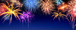 Feuerwerk Panorama auf Dunkelblau