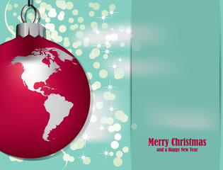 Christmas Card with Christmas decoration and world map