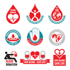 Blood donation - vector logo badges. World blood donor day.