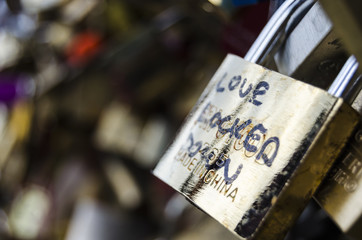 Love lock bridge in Paris