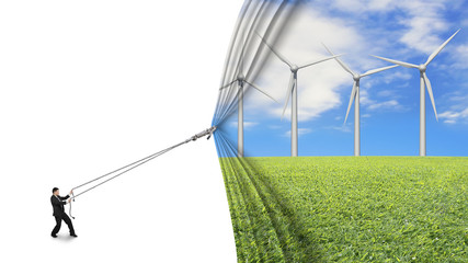 businessman pull open wind turbines curtain covering blank white