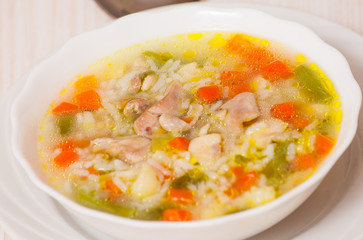 chicken soup with vegetables and rice