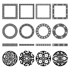 Set of ethnic greek borders, round and square frames, signs