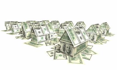 """""""Поселок"""" из домиков, сложенных из купюр по 100 долларов"""