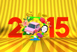 Jumping Car, New Year Ornament, 2015 On Gold
