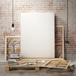 mock up posters frames and canvas in loft interior background