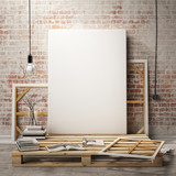 mock up posters frames and canvas in loft interior background - 74338044