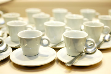 Coffee cups and saucers at an event