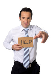 senior businessman holding help sign in overwork stress concept