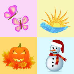 four seasons symbols illustration