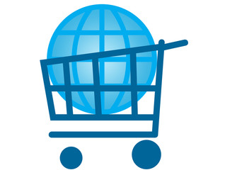 Global market concept - globe inside shopping cart