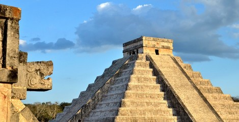 The head of the snake in Chichen Itza