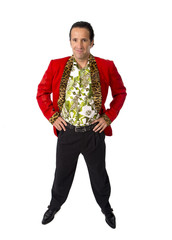 funny bon vivant mature man in red  jacket posing gigolo alike