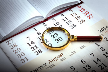 magnifier on the diary