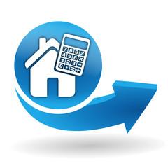 calculatrice et simulateur immobilier sur bouton web bleu