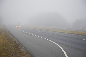 Car In Heavy Fog