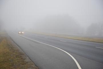 Car In Heavy Fog