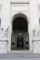 Entrance to Salzburg cathedral decorated with statues of saints
