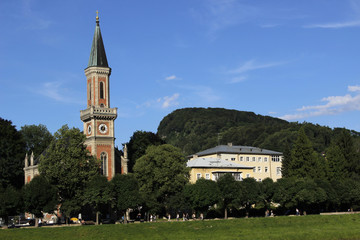 Salzach embankment, Christuskirche and Kapuzinerberg, Salzburg