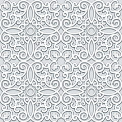 Abstract grey ornament, seamless pattern in neutral color